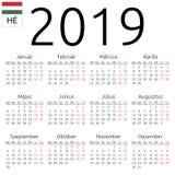 日历2019年,匈牙利语,星期一 库存例证