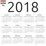 日历2018年,匈牙利语,星期天 库存例证