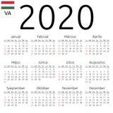 日历2020年,匈牙利语,星期天 皇族释放例证