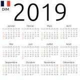 日历2019年,法语,星期天 免版税库存照片
