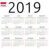 日历2019年,波兰语,星期一 库存图片