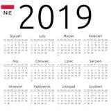 日历2019年,波兰语,星期天 免版税库存图片