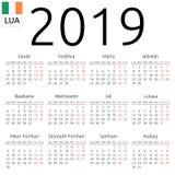 日历2019年,爱尔兰语,星期一 库存例证