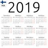日历2019年,芬兰语,星期一 免版税库存照片