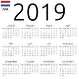 日历2019年,荷兰语,星期一 图库摄影