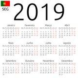 日历2019年,葡萄牙语,星期一 图库摄影