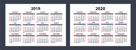 日历2019年, 2020口袋 传染媒介基本网格 简单的设计 库存图片