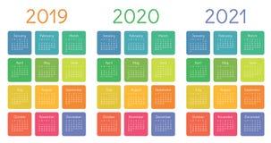 日历2019年, 2020年和2021集合 在星期天,星期起始时间 基本网格 库存例证