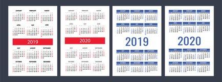 日历2019年, 2020年 基本的传染媒介集合 在sund的星期开始图片