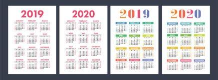 日历2019年, 2020年 基本的传染媒介集合 在Sund的星期开始 库存例证