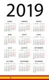 日历2019年-例证 西班牙语版本 库存例证