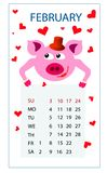 日历2019年2月桃红色猪在爱的红心在圣徒情人节 皇族释放例证