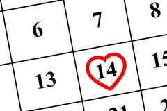 日历2019年2月14日-情人节 拟订爱s二华伦泰的日愉快的重点 免版税图库摄影