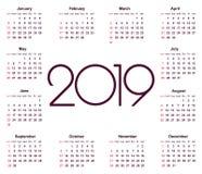 日历2019年 简单的传染媒介模板 文具设计模板 在黑白颜色,在红色的假日的日历设计 免版税库存图片