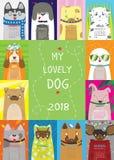 日历2018年 我可爱的狗 库存例证