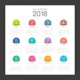 2018日历 最小的桌面日历,五颜六色按钮和现代 库存图片