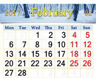 日历2月2017年与冬天风景 免版税库存图片