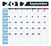 日历9月2017传染媒介设计模板 与星期一的星期起始时间 欧洲版本 图库摄影