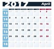 日历4月2017传染媒介设计模板 与星期一的星期起始时间 欧洲版本 库存照片