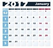 日历1月2017传染媒介设计模板 与星期一的星期起始时间 欧洲版本 免版税库存照片