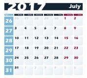 日历7月2017传染媒介设计模板 与星期一的星期起始时间 欧洲版本 免版税库存图片