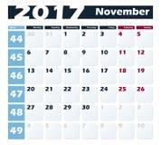 日历11月2017传染媒介设计模板 与星期一的星期起始时间 欧洲版本 免版税库存图片