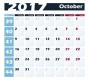 日历10月2017传染媒介设计模板 与星期一的星期起始时间 欧洲版本 库存照片