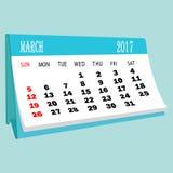 日历3月2017桌面日历的页 免版税库存图片