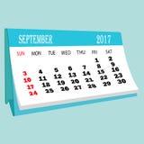 日历9月2017桌面日历的页 免版税图库摄影