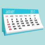 日历1月2017桌面日历的页 3d翻译 免版税库存照片