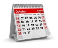 日历- 2017年10月 图库摄影