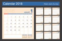 2018日历 桌面日历现代设计模板 星期开始 免版税图库摄影
