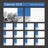 2018日历 桌面日历现代设计模板 星期开始 免版税库存图片