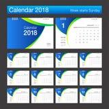 2018日历 桌面日历现代设计模板 星期开始 免版税库存照片