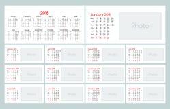 日历2018每日计划者模板 免版税库存图片