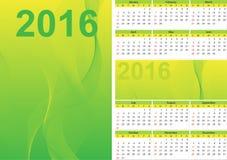 日历绿色2016年 免版税库存照片