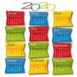 日历2020装饰和五颜六色,方形的格式,与法国的假日 向量例证