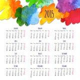 日历2015设计模板 免版税库存照片