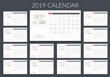 2019日历 向量例证