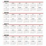 日历2015年2016年2017年2018年 免版税库存图片