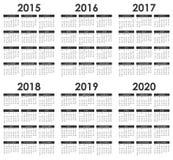 2015 - 2020日历 库存例证
