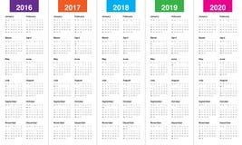 日历2016 2017 2018 2019 2020年 向量例证