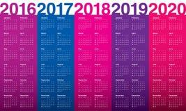 日历2016 2017 2018 2019 2020年 免版税库存图片