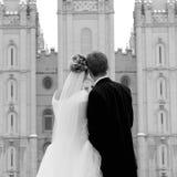 日反射的婚礼 库存照片