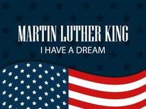 日国王luther马丁 梦想有i 与美国国旗的文本 向量 图库摄影