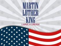 日国王luther马丁 梦想有i 与美国国旗的文本 向量 库存图片