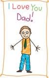 日图画父亲孩子s 库存照片