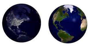 日地球晚上 库存照片