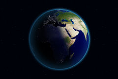 日地球欧洲晚上 图库摄影