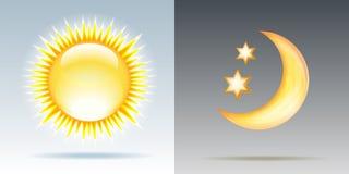日夜与太阳和月亮的例证 皇族释放例证